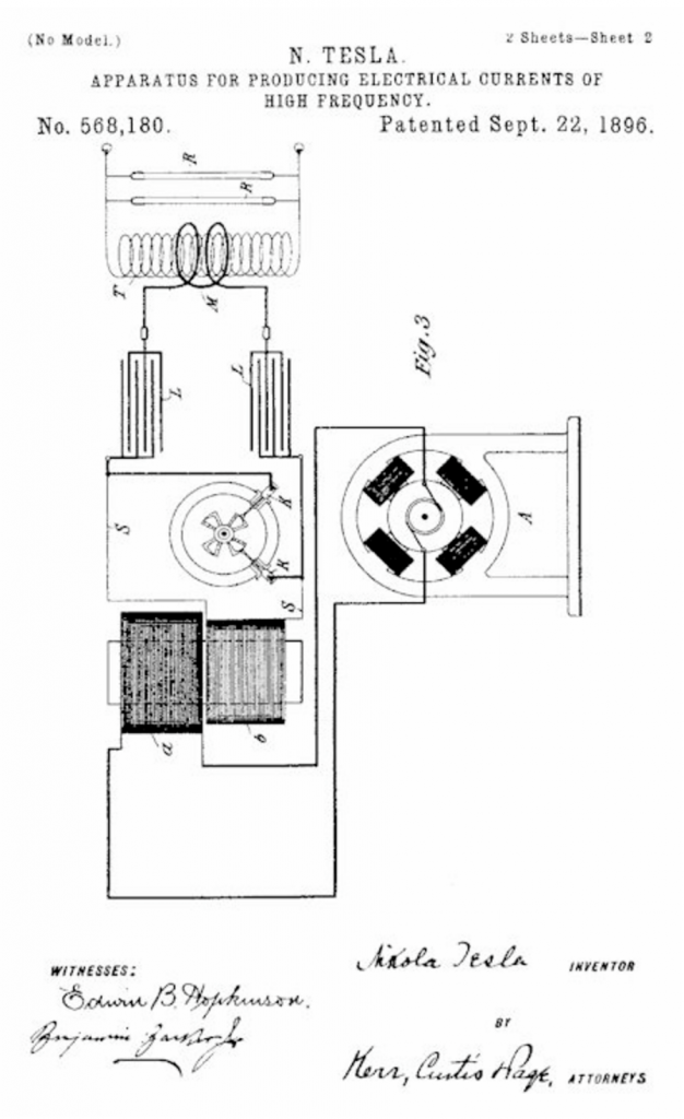 Patent to break AC at peak of the wave using a rotary spark gap