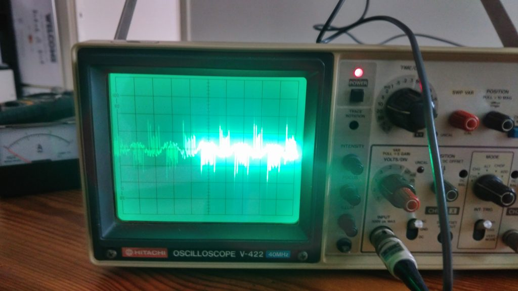 Hairpin oscilloscope result shows 50Hz input wave with superimposed high-frequency wave