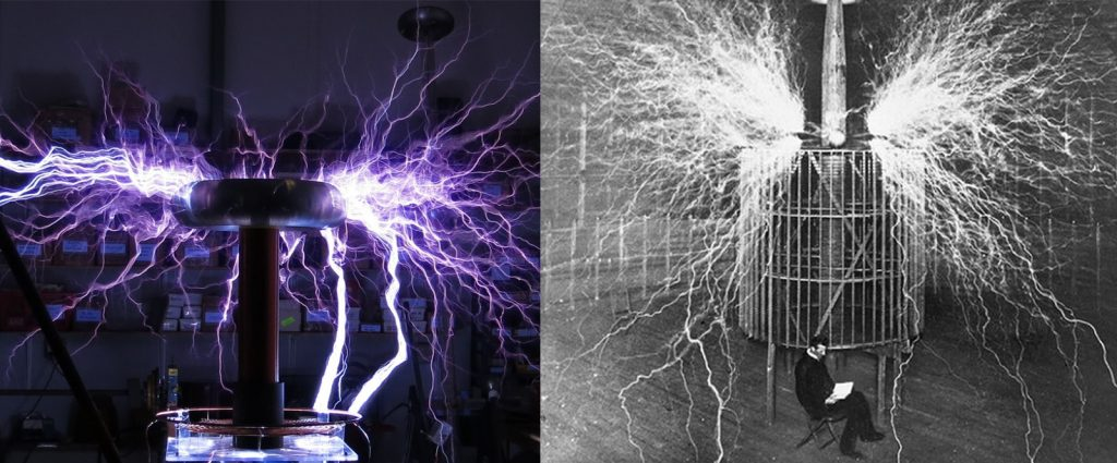 "Modern Tesla Coil (left) versus Tesla's original Colorado Springs ""Magnifying Transmitter"" coil (right)"