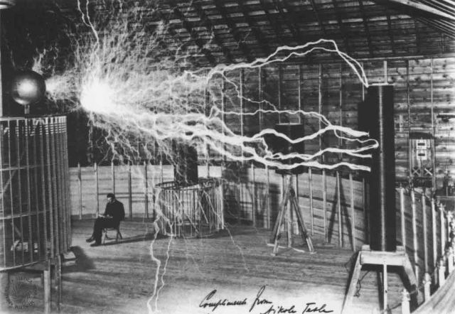 Helical coils bombarded with sparks from the Colorado Springs Magnifying Transmitter