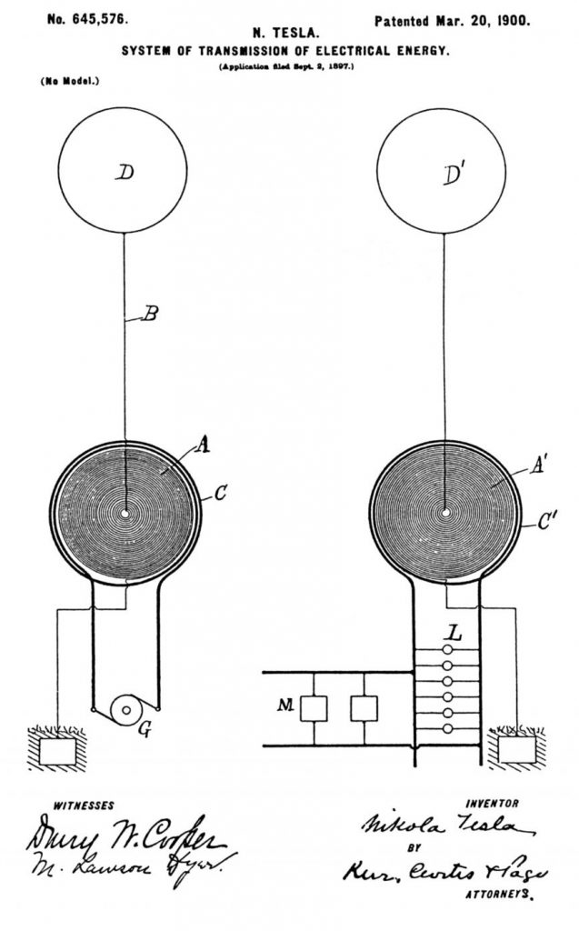 First wireless transmission system patent, using flat spiral coils as both a transmitter and a receiver, and the earth as a conductor