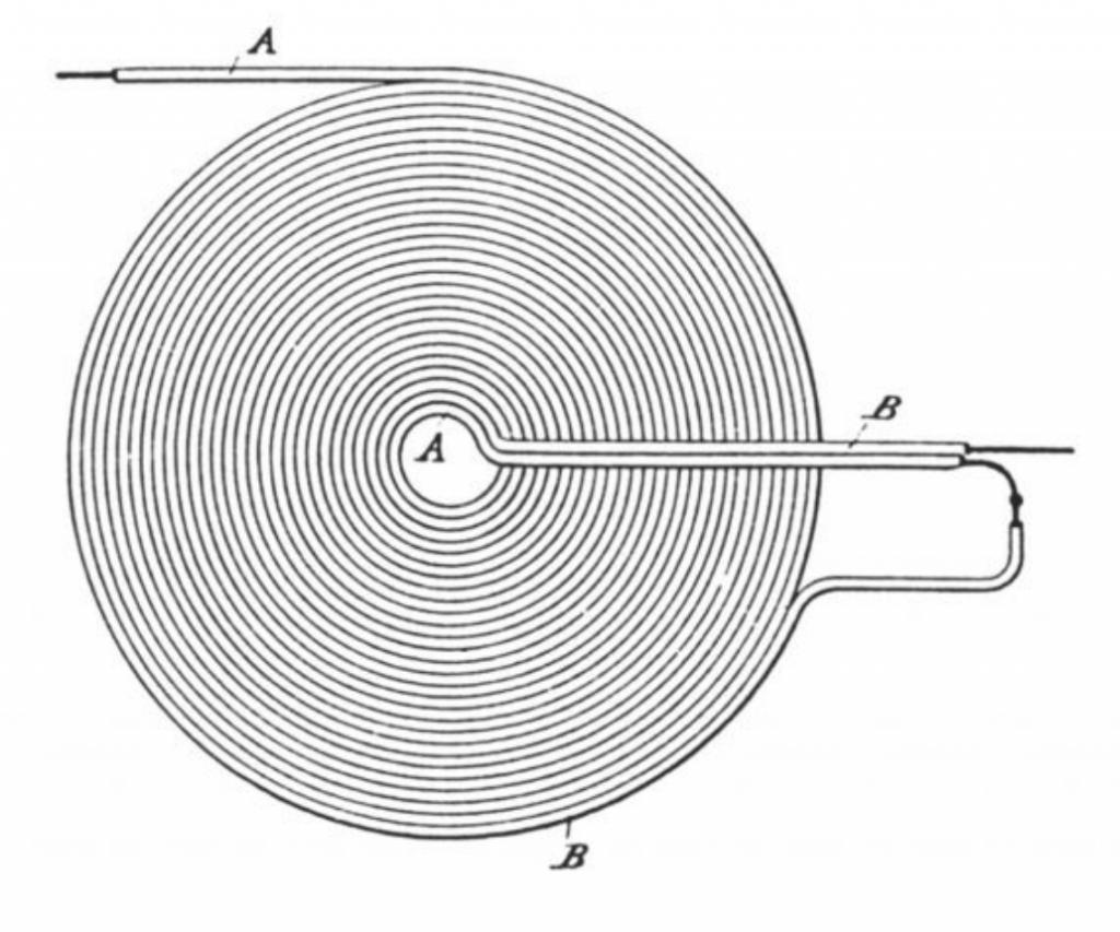 Tesla's bifilar flat pancake coil from 1893
