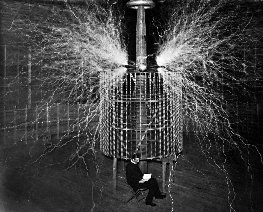Tesla in front of his Extra Coil in Colorado Springs