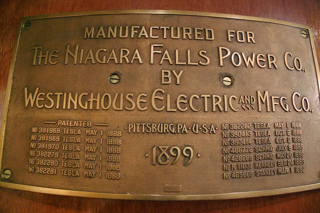 Plaque at the Niagara Falls hydroelectric power plant, showing 9 Tesla patents